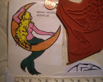 4 1/2 inch mermaid in moon rubber stamp  rt. un-mounted scrapbooking rubber stamping