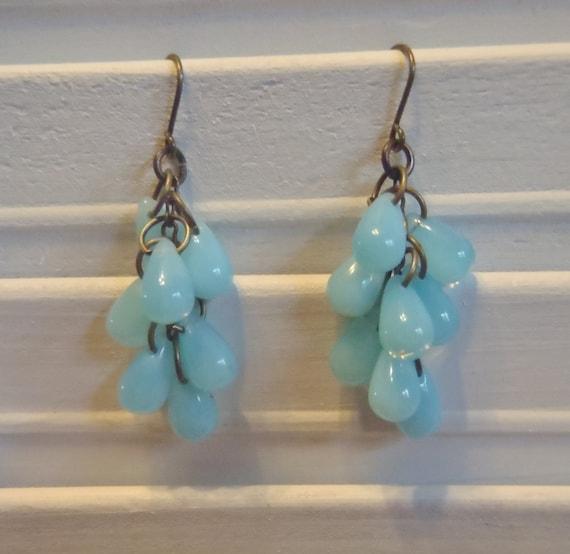 Aqua Blue TEARDROP CZECH BEADS Dangle Earrings - tear drop