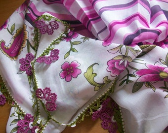 Flower Lace Scarf HandCrocheted scarves shawl authentic Traditional Turkish LaceWork romantic stole silk summer spring winter