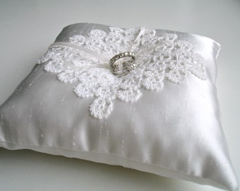 Ring Bearer Pillow in Ivory Color With Handcrocheted Vintage Lace   and  Pearl