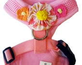 "Dog Harness / Collar - Mesh Adjustable - Pink - Size S ""Daisy Duke"""