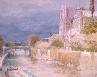 Notre Dame Cathedral 5x7 8x10 art print Paris, France, Seine River, barge, church, blue, pink, green, lavender, city scene, bridge, religion