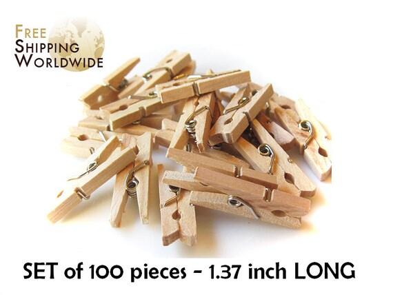 """100 Mini Clothes Pins 1.37"""" Natural Wood Wooden Clothespins - Pegs - Clothespins Natural color from Beech wood"""