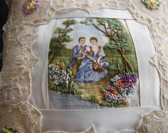 Lace Pillow with Fashion Plate Insert