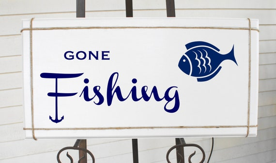 Gone fishing sign with anchor and fish white painted wood for Gone fishing sign