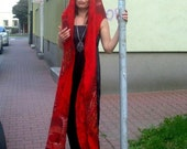 Reserved. Felted Scarf  Hood  Double-sided Red
