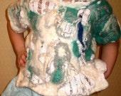 116 - 122 cm 5 -6 years girl Handmade Top Vest Waistcoat Wrap Felted Knitted Lagenlook OOAK LIA design