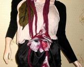 Handmade wool felted boiled dark red Fantasy Flowers necklace scarf collar belt shawl Lagenlook LIA design