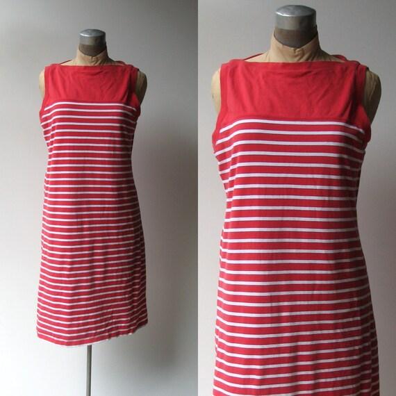 Vintage Liz Claiborne Dress / Striped t shirt dress / medium