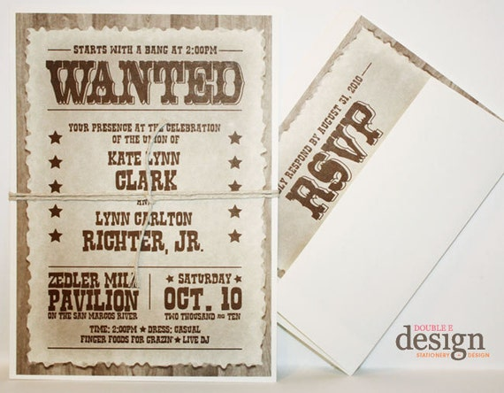 Western Wedding Invitation Wording: Items Similar To Western Wanted Wedding Invitations On Etsy