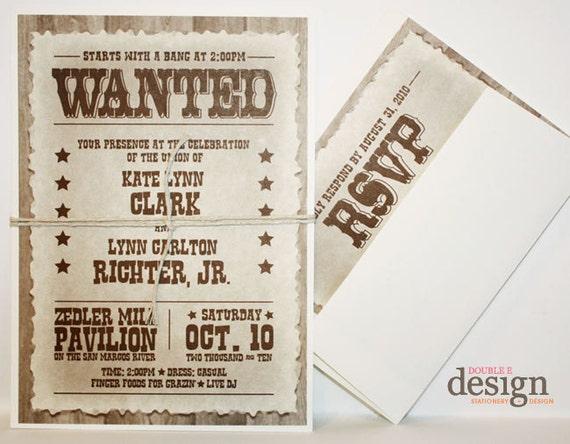 Western Wedding Invites: Items Similar To Western Wanted Wedding Invitations On Etsy