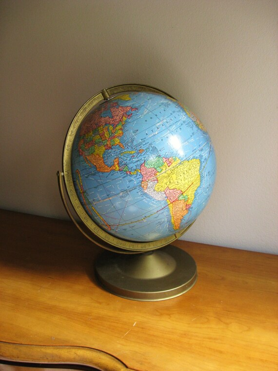 Vintage 1960's Cram's Imperial 12 inch World Globe, Mid Century Globe