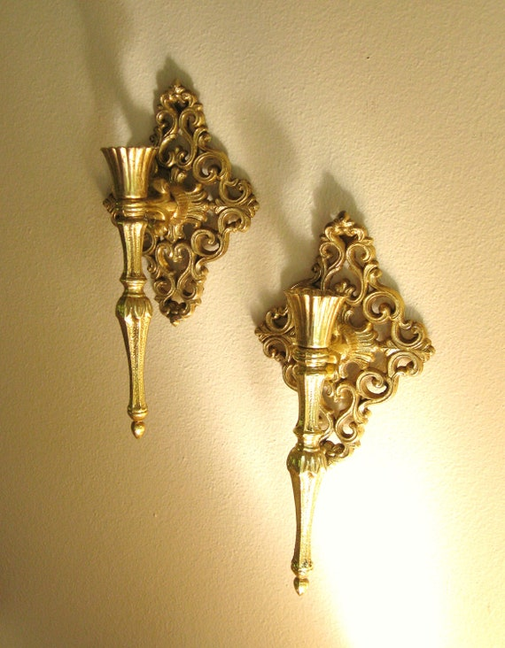 Vintage ornate gold wall sconces hollywood regency sconces for Hollywood regency wall decor