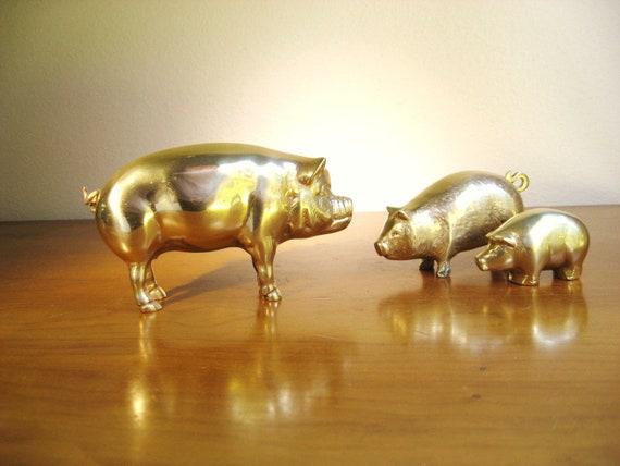 Vintage Brass Pig Figurines, Pig Statues, Hog, Farm Animal Collectible