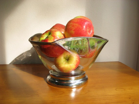 Vintage Glass Serving Bowl, Modern Mid Century Bowl, Large size Bowl, Fruit or Punch or Chip Bowl, Silver Ombre Glass Bowl