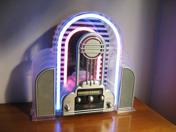 Vintage Cicena Marilyn Neon Radio Art Deco Design Am Fm