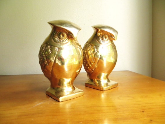 Vintage Brass Owl Bookends, Gold Owl Figurines, Hollywood Regency, Large Heavy Brass Owls