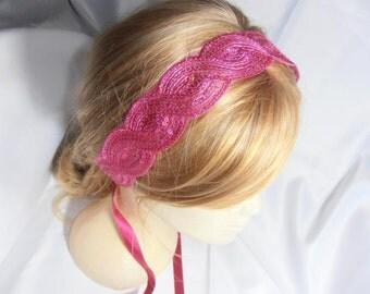 Wedding Headband, Bridesmaid fuchsia sequin headband, fuchsia ribbon Hair Accessory, Wedding Headpiece