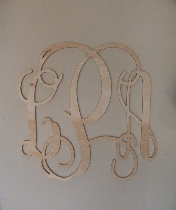 20 INCH Vine connected monogram letter, wooden wall letter, unfinished, wedding decoration, home decoration