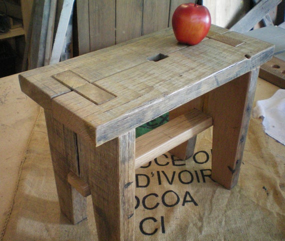 Re-Claimed Oak bench, stepstool
