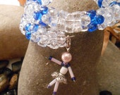 Blue and Crystal Dancer Beaded Memory Wire Bracelet -  By Germaine G. Egrie