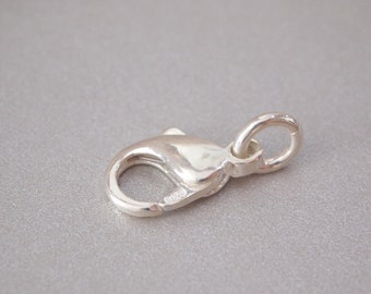 1 PC, Lobster Claw Clasp, 925 Sterling Silver, Oval Shape wiht Open Jump Ring