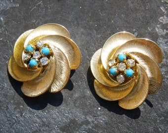 Heirloom rhinestone and turquoise 1950s earrings - wedding something blue