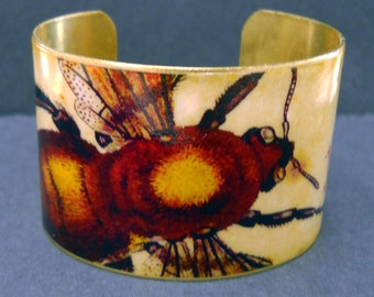 Vintage Print Bumble Honey Bee 1 1/2 Inch Brass Cuff Bracelet