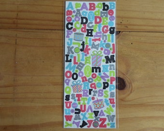 Birthday Party Theme Alphabet  Stickers
