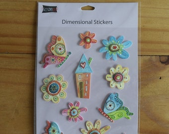 Fun and colorful three dimensional stickers of butterflies and flowers.