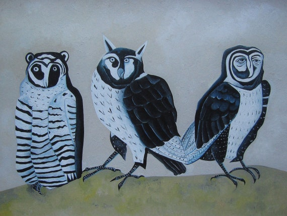 Athenas - Owl Women, Archival Giclee Print of Original Painting, Signed