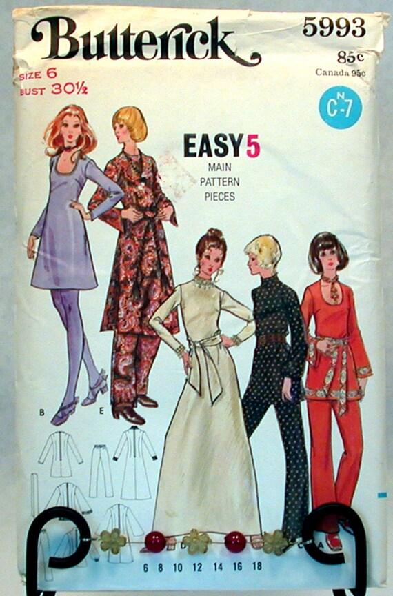 Vintage Butterick Pattern 5993 Sz. 6 NOS Misses Dress and Pants.