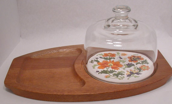 Vintage Mid-Century Teak Cheese Tray with Glass Cloche