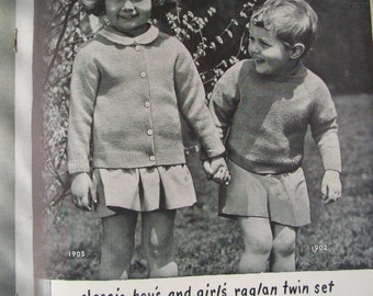 Vintage Knitting Patterns, Children's Clothing, 1944 Bear Brand Bucille Baby Book , Volume 328, Vintage Sweaters, B&W Vintage Photographs