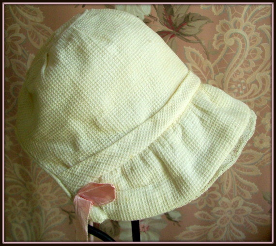 Vintage Baby Bonnet 1940's White Cotton with Pink Ribbon Ties