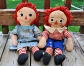 Set Vintage Knickerbocker Raggedy Ann and Andy Dolls era 1930's - 1940's