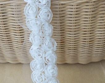 2 yards off white Rosette Trim, 3D rose trim