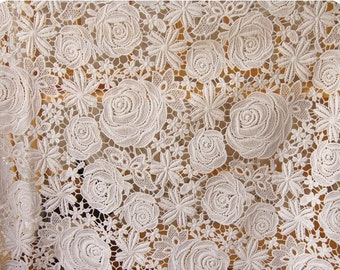 Lace Fabric with retro roses floral, crocheted lace fabric