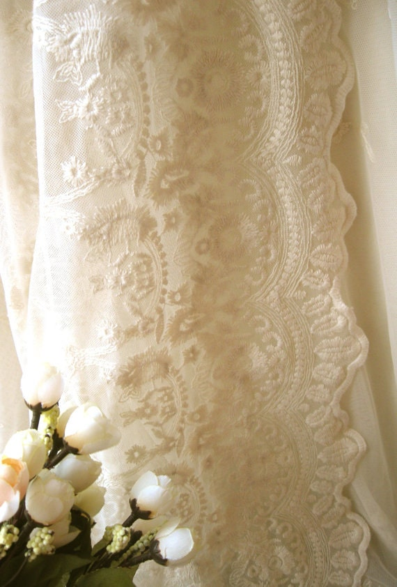 Antique Embroidered Lace Fabric Vintage Lace Fabric Retro