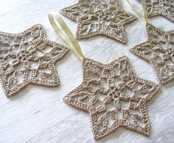 Christmas stars crochet snowflakes star of David set of by NatkaLV