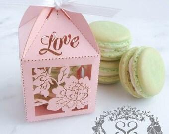 Wedding Favors Macaron Favor Wedding Love Favor Box and (2) French Macaroons
