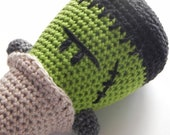 spooky Frankenstein ice cream amigurumi - halloween decor - crochet toy - cotton and linen
