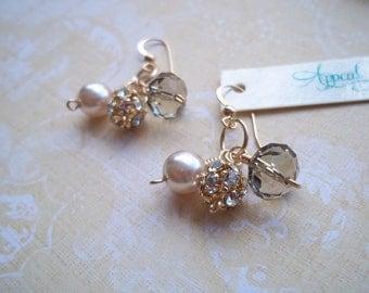 Pearl and Crystal Charm Earrings