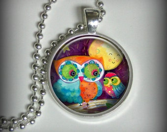 Owl Pendant Charm, Moon Pendant, Watercolor Pendant, Necklace Pendant (p116)