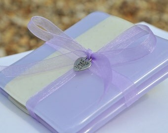 Fused Pair Coasters - Lilac and cream