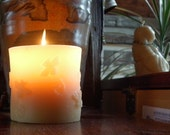 Beeswax Pillar Candle with Honeybees and Swirls ~ Happy Bees ~ All Natural ~ Long-burning ~ Beeswax from the Woods and the Heartland