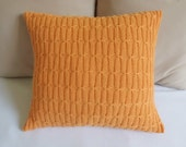 Tangerine knitted cushion, orange14x14 couch pillow, nectarine cable knit pillow, decorative pillowcover, knitted pillow cover, knitt throw - Adorablewares