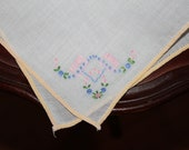 Vintage Child's Handkerchief with Embroidered Flowers