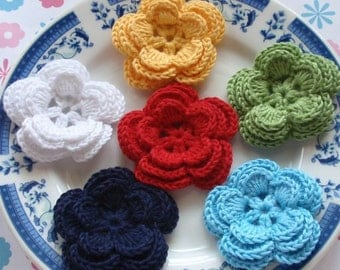 6 Crochet Flowers In White, Yellow,  Green, Blue, Navy,Red GYH-006