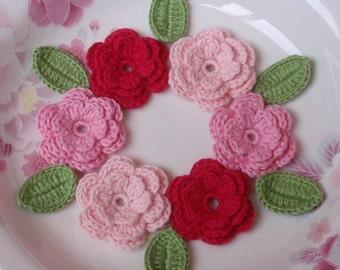 6 Crochet Flowers With Leaves In Lt pink, Pink, Dark Pink YH-014
